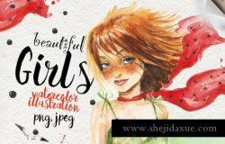 6个水彩手绘女孩形象插画