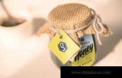 专业逼真效果品牌设计蜂蜜罐子包装模型4个场景样机