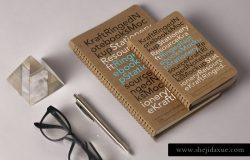牛纸皮笔记本贴图样机PSD模版 Kraft Ringed Notebooks Mockup