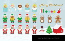 圣诞节卡通设计插画 Christmas Design Pack