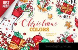 圣诞主题矢量多彩贴纸素材合集