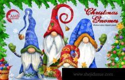 圣诞地精侏儒水彩插画素材