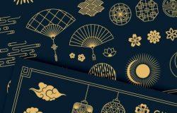 时尚高端简约多用途的中国风新年元旦矢量元素集合
