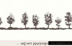 手绘素描自然景观树木插图素材