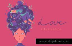 情人节创意美女插图素材 Love illustration
