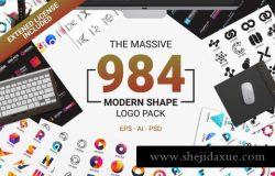 984个时尚现代标志形状Modern Logo