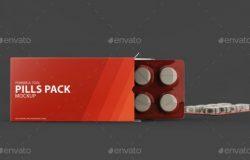 药盒包装贴图样机