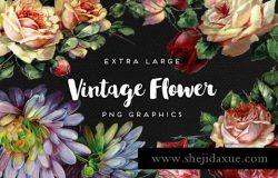 经典花卉图案插画1 Large Vintage Flower Graphics