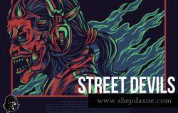 震撼的街头恶魔T恤服装设计插画设计模板