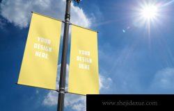 高品质灯柱广告横幅展示样机
