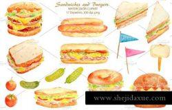 水彩三明治插画