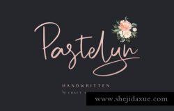 漂亮时尚雅致的钢笔手写签名英文字体 Pastelyn – Handwritten Font