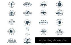 20个夏季海洋岛屿生物元素徽章插画