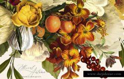 栩栩如生的秋天复古花束插图素材