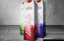 果汁包装盒模型PSD贴图模板Juice Carton Box Mockup