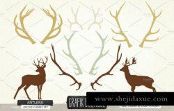 鹿角剪影矢量剪贴画 Antlers deer silhouette vector clip