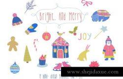 明亮的圣诞节元素插画 Bright and merry