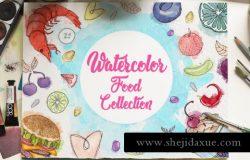 手绘水彩元素美食大杂烩插画素材 WATERCOLOR FOOD COLLECTIONS