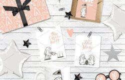 30个可爱浪漫兔子情人节矢量素材 ROMANTIC CARDS COLLECTION