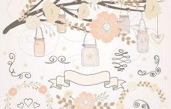 淡雅风格春季手绘花卉PNG素材