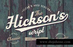 经典手写字体 Hickson's Vintage Typeface