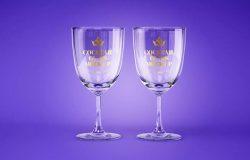葡萄酒和鸡尾酒杯品牌标签设计正视图样机