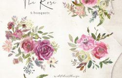 水彩玫瑰花花饰剪贴画