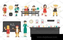 扁平化学校人物插画 School – flat people set