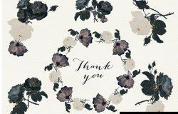 高雅黑色玫瑰手绘水彩设计素材