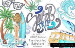 冲浪主题手绘插画合集 Surf Trip Hand-painted Collection