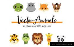 可爱卡通动物矢量插图图案素材