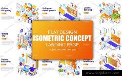 等距概念扁平化风格网站着陆页设计插画模板合集