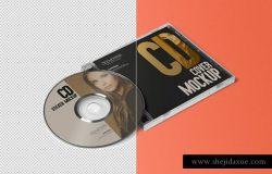 光碟唱片包装盒模型PSD贴图模板Stylish CD Jewel Case & Label Sticker Mockup