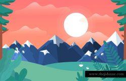 矢量卡通卡通山景插图