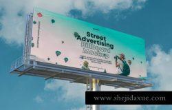 高速公路广告牌高炮海报贴图样机PSD模板 Billboard Mockup
