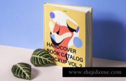 高品质精装书籍封面设计贴图展示样机模板 Psd Hardcover Book Catalog Mockup