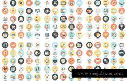 1600枚多主题扁平设计风格矢量图标套装 Bundle Flat Icons