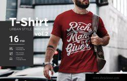 都市风格男士T恤印花设计效果图样机v2 T-Shirt Urban Style