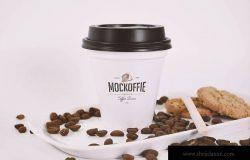 咖啡品牌VI设计咖啡杯样机模板 Sealed Coffee Cup Mockup With Cookies