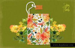 手绘水彩春天花卉花束设计素材
