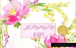 手绘水彩浪漫花卉花束设计素材