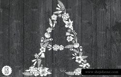 创意花卉字母&丝带装饰元素
