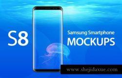 三星s8多角度UI展示样机模板 Galaxy S8 Mockups