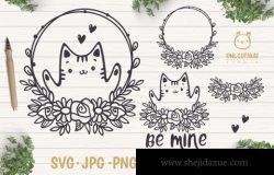 情人节猫咪线稿插画矢量素材 Valentine Cat svg , Kitten with floral decor