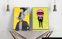 现代海报设计展示样机模版素材 Modern Double Poster Mockup