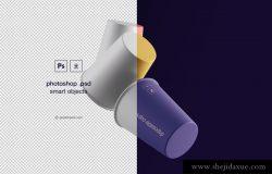 悬浮的纸杯品牌贴图展示模版 Gravity Cups Mockup