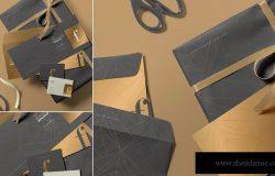3款高端信封设计样机模板