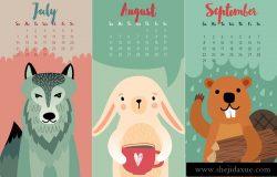 2019年可爱手绘森林动物矢量日历模版