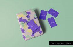 精致的礼品盒&便签贴图展示样机PSD模版 Wrapped Gift Mockup