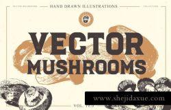 手绘农场有机蘑菇矢量插图合集包